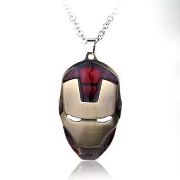 2016 NIB DC Super Heroes Iron Man mask necklace Pendant Anime Cartoon COMICS Gift For Men+Christmas gifts