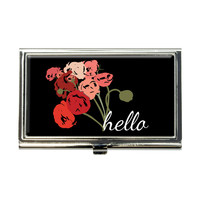 Hello Bouquet Flowers Ranunculus Business Card Holder