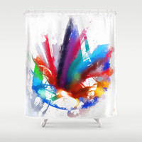 Dancing Peacock  Shower Curtain by Gréta Thórsdóttir #peacock #birds #artist #watercolor #color #pencils #crayons #kids