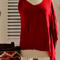 Upcycled Red Knit Top, Spring women's Top, Knitwear Spring Fashion, Upcycled Women's Fashion