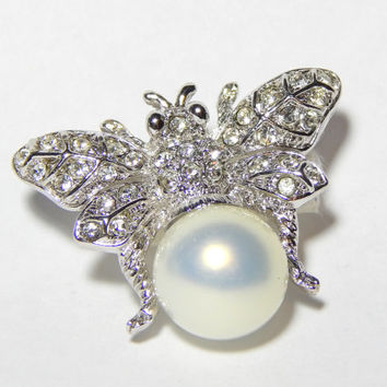 Silver Bumble Bee Brooch Silver Bee Pin Faux Pearl Body Rhinestone Wings