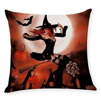 Sexy Witch Wizard Halloween Decorative Cushion Cover Letter Print Halloween Pumpkin Face Magic Sorcery Throw Pillow Cases  Aug16