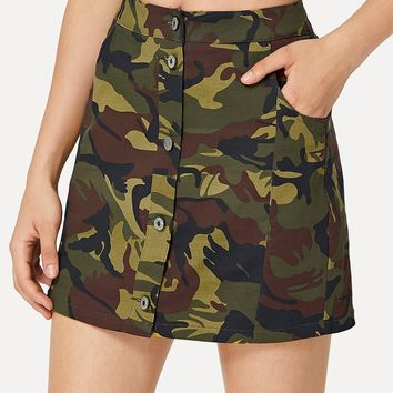 Button Up Camouflage Skirt