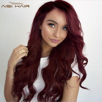 """24"""" Scarlet Red Gradient Long Wavy Lace Wig"""