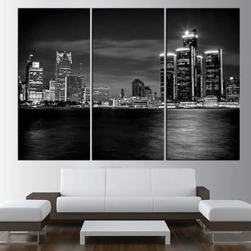 Detroit Skyline canvas wall art print, black and white extra large wall art, skyline canvas art, modern wall art, detroit large art  t461
