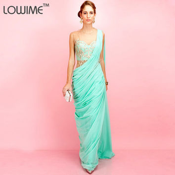 2015 Elegance Forever Unique Aqua dress For Party Social Vestido De Chiffon Longo Long Flowy Mint Green Prom Dresses Graduation