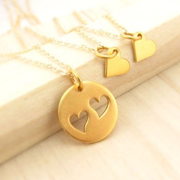 Gold Mother Daughter or Sisters Necklace Set, THREE Necklaces, Vermeil Heart Necklace Set, Sisters and Best Friends Jewelry, Mom of Two Set