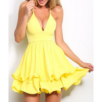 Sexy Plunging Neck Spaghetti Strap Layered Flounced Dress For Women