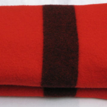 Vintage Wool Blanket Kenwood Red with Black Stripes Electrical Plug Symbol Made in Canada Clean 50 x 75 Inches