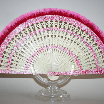 Ivory folding fan, Ivory and pink, Spanish hand fan, carved wood