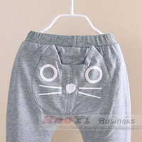 New Hot Sale! Free shipping! Kids Boys Girl spring lovely cat long trousers children pants baby long pant baby long trousers