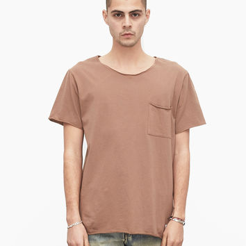 Basic Raw-Cut Short Sleeve Tee in Chestnut