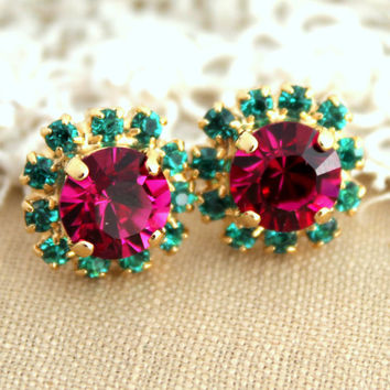 Stud earrings Pink Fuchsia Emerald  green Crystal -14 k plated gold post earrings real swarovski rhinestones.