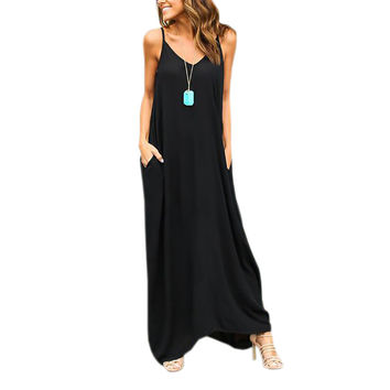 Women Maxi Dress Loose Casual Beach Summer Vestidos Spaghetti Strap Pockets Sexy Solid Sleeveless V-neck Swing Sundress LX330