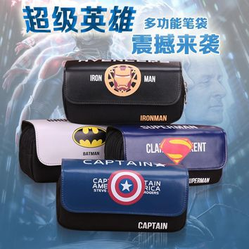 Cute Cartoon Avengers Union Superhero Film School Office Stationery Case Boy Gift Double-deck Student Pen Case
