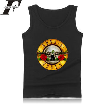 LUCKYFRIDAYF Rock Band Guns N Roses  Tank Top Men Sleeveless Shirt and Street Style Bodybuilding Clothes in Fashion Summer Vest