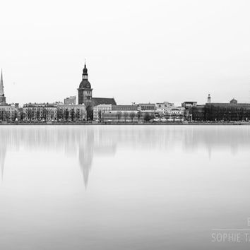 Cityscape canvas, skyline, black and white wall art, Riga, minimalist art, monochrome, fine art photography, home decor, large wall art, big
