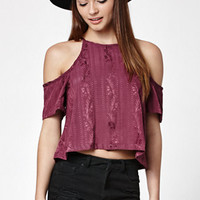 Kendall & Kylie Textured Cropped Cold Shoulder Top at PacSun.com