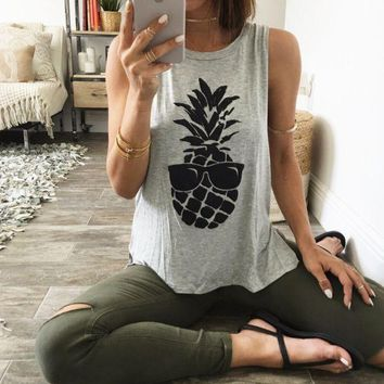 PEAPDQ7 Casual Pineapple Print Sleeveless Vest  T Shirt Tank Tops