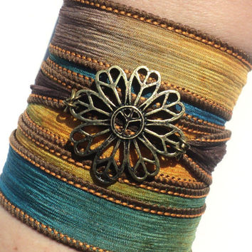 Bohemian Silk Wrap Bracelet Yoga Jewelry Peace Flower Hippie Unique Earthy Etsy Gift For Her Mothers Day Under 50 Item Y147