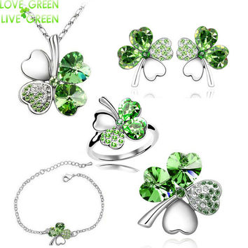 2017 new 5 in set Necklace earrings rings bracelet brooch jewelry set wedding rose gold Crystal Clover 4 Leaf heart Pendant 9554