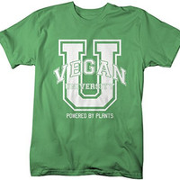 Shirts By Sarah Men's Vegan University T-Shirt Shirts For Vegans Powered Plants