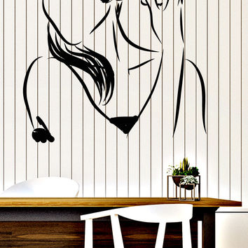 Large Wall Vinyl Decal Girl Makeup Hair Style Beauty Salon Interior Decor Unique Gift z4581