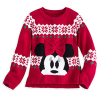 Minnie Mouse Red Bow Holiday Sweater for Girls | Disney Store