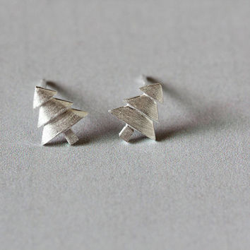 Silver Pine Tree Earrings, Sterling Silver Tree Stud Earrings,leaf earrings,Christmas tree earrings,gift for her,tree jewelry