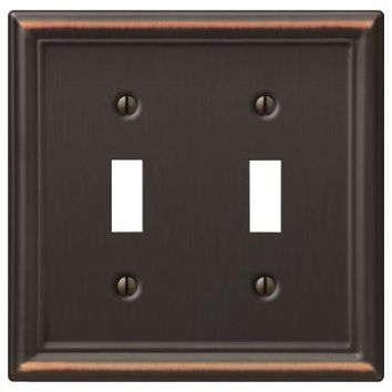 Hampton Bay Chelsea 2 Toggle Wall Plate - Aged Bronze-149TTDBHB - The Home Depot