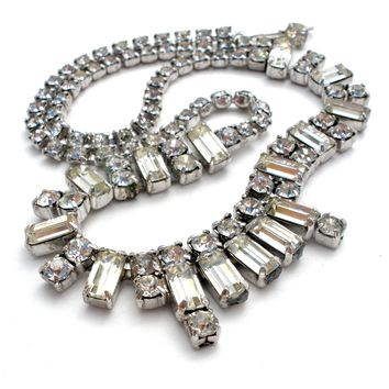 Vintage Clear Rhinestone Necklace 16""