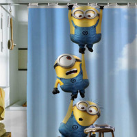 "minion shower curtain by holidayshowercurtain size 36"" x 72"", 48"" x 72"", 60"" x 72"" , 66"" x 72"""