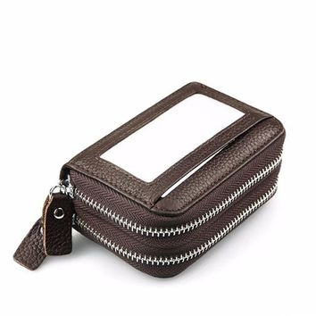 Fashion RFID Cards Wallet Genuine Leather Women Credit Card Holder Large Capacity Double Zipper Mens Business Bank Card
