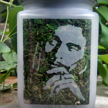 Bob Marley Etched Glass Stash Jar- Happy 420 Gifts - Legends of 420 - Recreational and Medicinal Cannabis Stash Jar - Smoke Like Marley