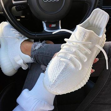 Adidas Yeezy 550 Boost 350 V2 Fashionable Couple Sport Running Shoe Sneakers Full White I/A