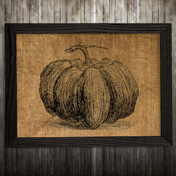 Pumpkin print Burlap decor Vegetable poster Kitchen print BLP902