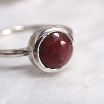 delicate silver ring ruby ring raspberry red faceted gemstone handmade jewelry stacking ring