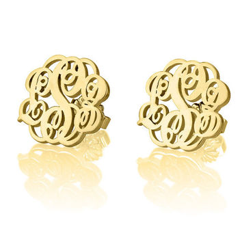 Personalized Monogram Stud Earrings - 24k Gold Plated Initial Earrings