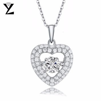 YL 100% 925 Sterling Silver Heart Necklaces & Pendants for Women Fine Jewelry Price for Lover with Natural Topaz Stone
