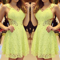 Yellow Floral Lace V-Neck Dress