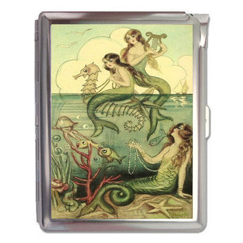 Classic Mermaid Retro Cigarette Case Lighter / Wallet Business Card Holder