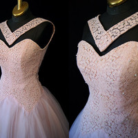 Show Stopper 1950's Pale Pink Tulle Lace Party Gown Rockabilly VLV Size X Small
