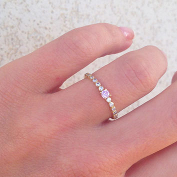 20% off- SALE!! Clear Quartz Ring - Rose Quartz Ring - TIny Ring - Stack Ring - Bezel Set - Crystals Ring - Half Eternity Ring