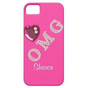OMG Gems Bling Heart Pink Girly Personalized Cases iPhone 5 Cases from Zazzle.com