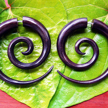 Fake Gauges, Wood Earrings, Organic, Split, Cheaters, Plugs, Tribal, Handmade Wooden Earrings Double Spirals - Large Brown