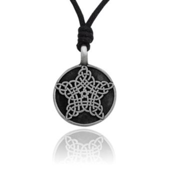 Celtic Pentagram Slow Flake Silver Pewter Charm Necklace Pendant Jewelry With Cotton Cord