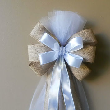 Burlap Pew Bow, Burlap and White Tulle Pew Bow, White Pew Bow,Wedding Pew Bow,Bridal Shower Bow, Anniversary Bow, Wreath Door Decoration