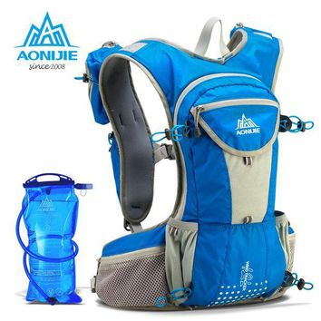 DCCK7N3 AONIJIE  Running Nylon Backpack 12L Lightweight Hydration Water Pack Sport Bag Outdoor Climbing Hiking Cycling + Water Bag 2L