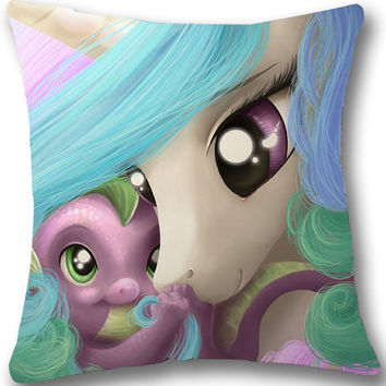 My Little Pony MLP Spike Pillow Big SATIN Pillow 17 by 17