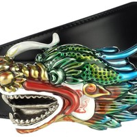 NEW GUCCI CURRENT DRAGON ENAMEL BUCKLE BLACK LEATHER BELT 85/34